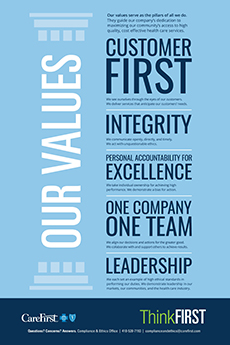 Graphic detailing CareFirst's values: Customer First, Integrity, Personal Accountability for Excellence, One Company as One Team and Leadership