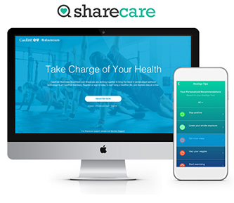 Sharecare logo and desktop and mobile screens